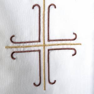 Priesterstolen: Weisse Stola mit braunem und goldenem Kreuz