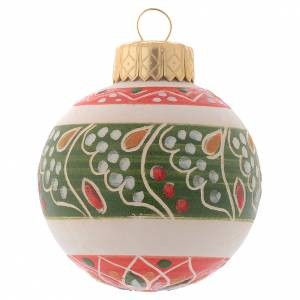 Christmas tree ornaments in wood and pvc: White Christmas bauble in terracotta from Deruta 50 mm