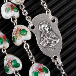 White cloisonné rosary with heart shaped beads s3