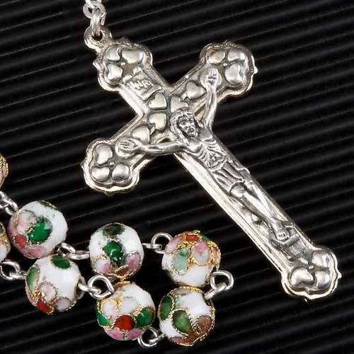 White cloisonné rosary s4