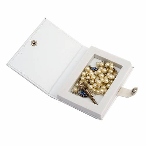 White rosary case 4 mm rosary beads s4