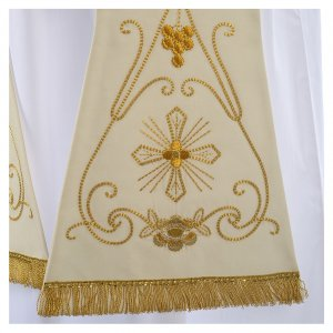 White stole in wool, ancient style embroideries s2