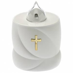 Świece wotywne: Świeca elektryczna Lumada biała krzyż światło ciągłe
