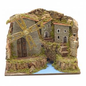 Wind mill for nativities with river and village 15x20x15cm s1