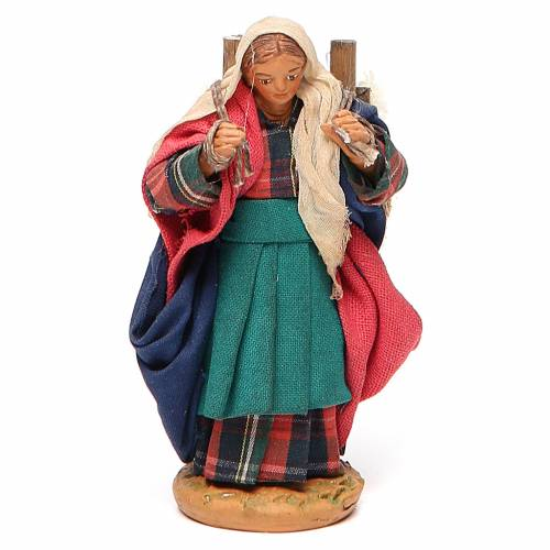 Woman carrying fabric, Neapolitan nativity figurine 10cm s1