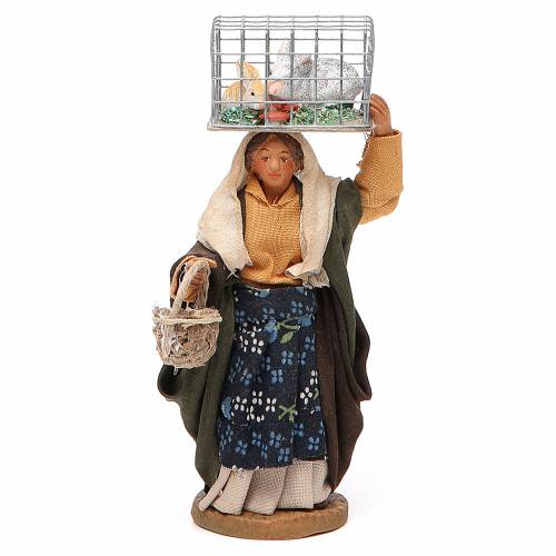Woman with cage and basket, Neapolitan nativity figurine 10cm s1