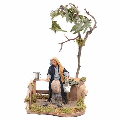 Woman with doves animated Neapolitan Nativity figurine 12cm s1