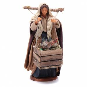 Woman with hens in boxes 14 cm nativity set s1