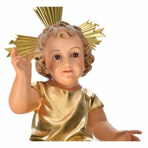 Baby Jesus figurines: Wooden Baby Jesus with golden dress, 35 cm