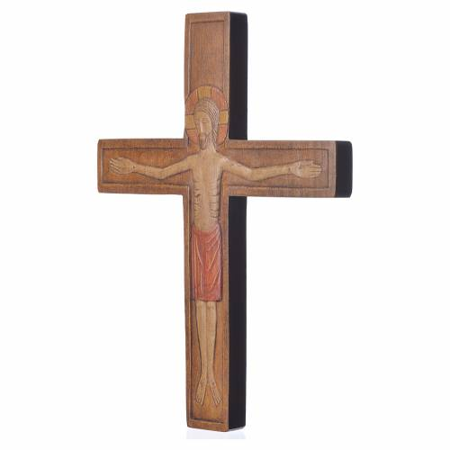 Wooden cross with Christ in relief with painted red mantle s2