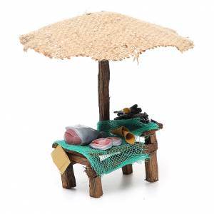 Workshop nativity with beach umbrella, fish and mussels 16x10x12cm s3