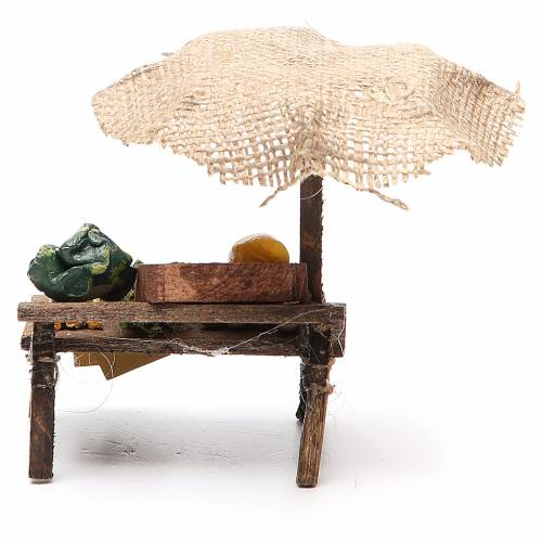 Workshop nativity with beach umbrella, vegetables 12x10x12cm s4