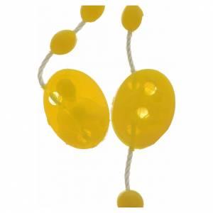 Economical rosaries: Yellow nylon rosary, centerpiece easy to open