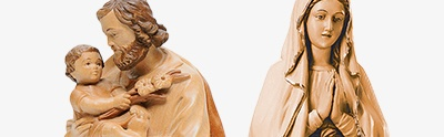 Natural wood statues and figures
