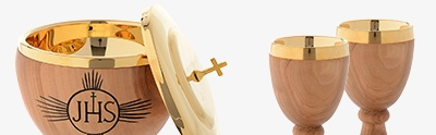 Olive wood Chalices Patens and Ciboria
