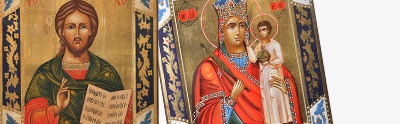 Hand-painted Russian icons on antique wood