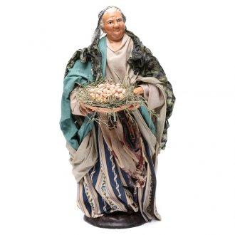 Neapolitan Nativity figurine, woman with egg basket, 30 cm