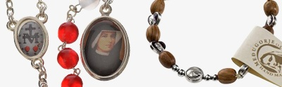 Bracelets, peace chaplets, one-decade rosaries