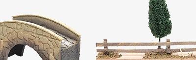 Ponts, ruisseaux, palissades pour crèche